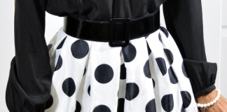 black and white polka dot skirt styling outfit idea 1