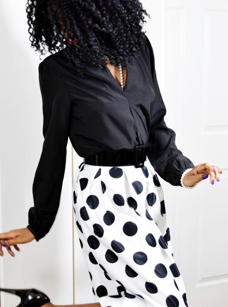 black and white polka dot skirt styling outfit idea Michael Kors black blouse