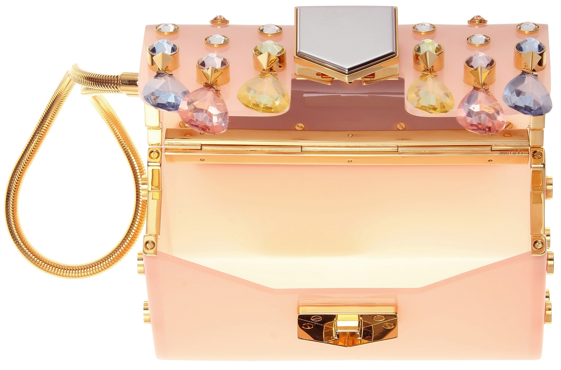 pink Crystal embellished Jimmy Choo clutch