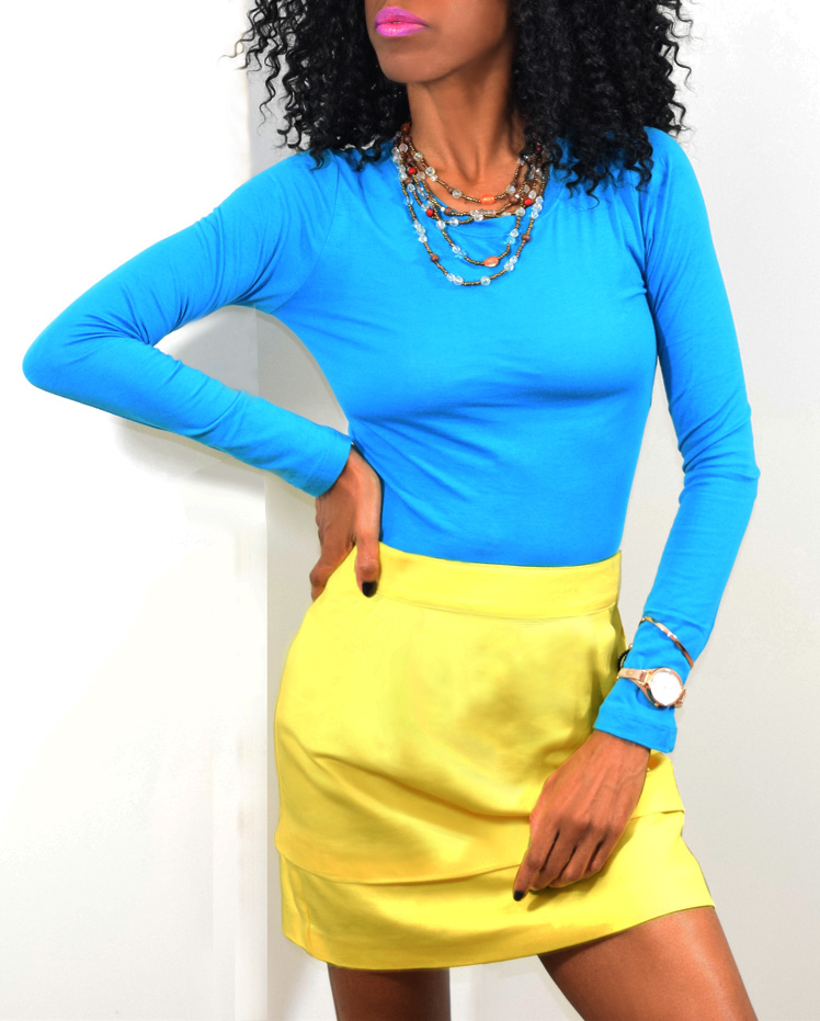 turquoise blue top yellow skirt