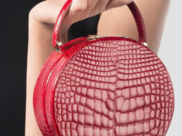 Buwood Shiny Alligator Leather Red Bumi 14 Top Handle Bag cr