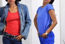 DAWGS tomato red womens racerback tank top blue basic t-shirt
