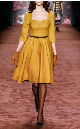 Lena Hoschek dresses - Mustard Sweetheart Dress $590