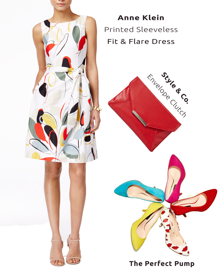 anne klein fit flare dress inc international concepts pumps style and co red envelope clutch