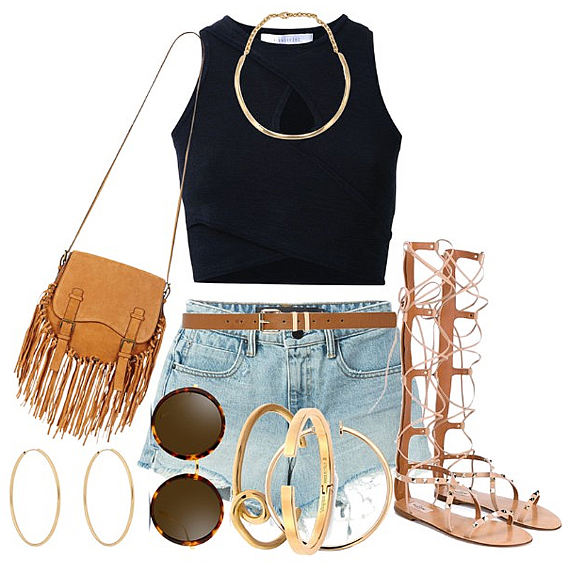 copy kendall jenners coachella 2016 denim shorts black crop top gladiator sandals fringe bag look