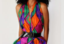 diy black pleated skirt with colorful scarf worn as top