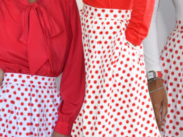 grace karin red and white polka dot skirt pleated flared