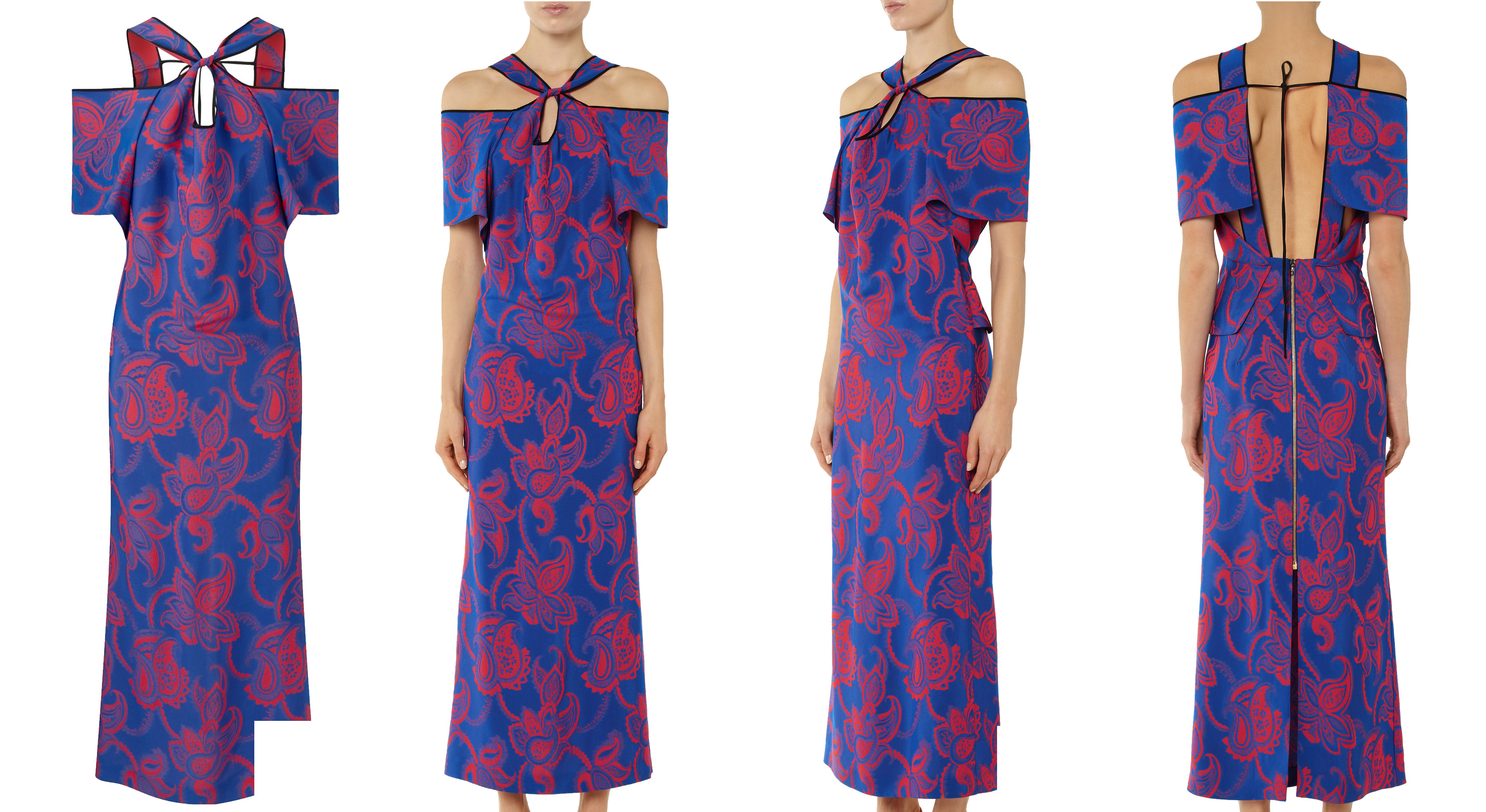 Roland Mouret Cliffon dress tomato red and lapis blue paisley jacquard