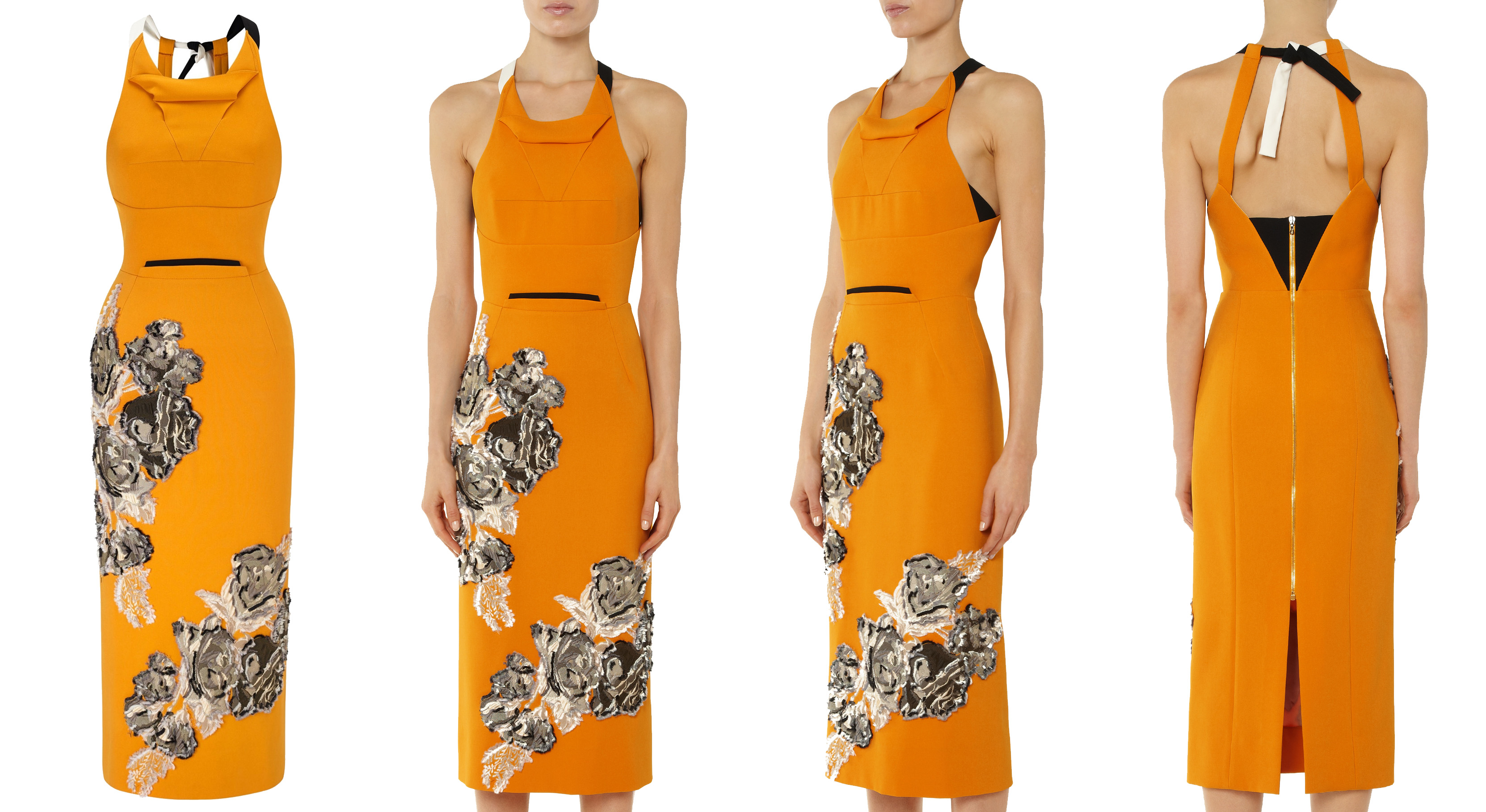 Roland Mouret dresses Lendal in bold saffron yellow rose fil coupe