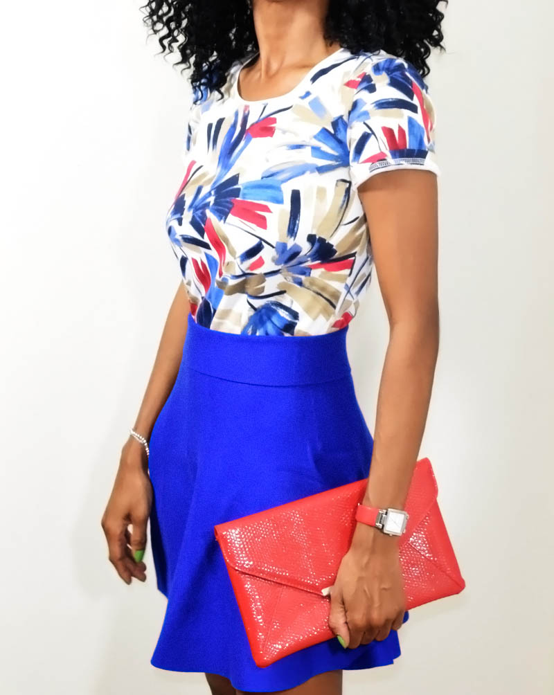 the blue skater skirt outfit karen scott blue red white multi color t-shirt