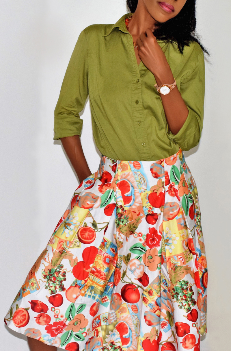 Grace Karin apples pomegranates fruits and flowers print skater skirt green button front top