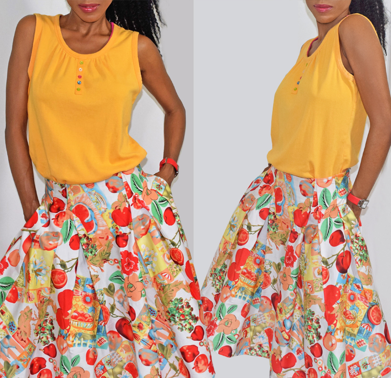 Grace Karin apples pomegranates fruits and flowers print skater skirt mustard yellow sleeveless top