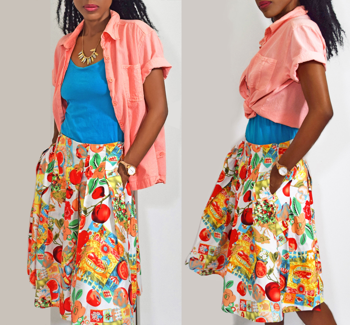 Grace Karin apples pomegranates fruits and flowers print skater skirt peach shirt over turquoise tank top