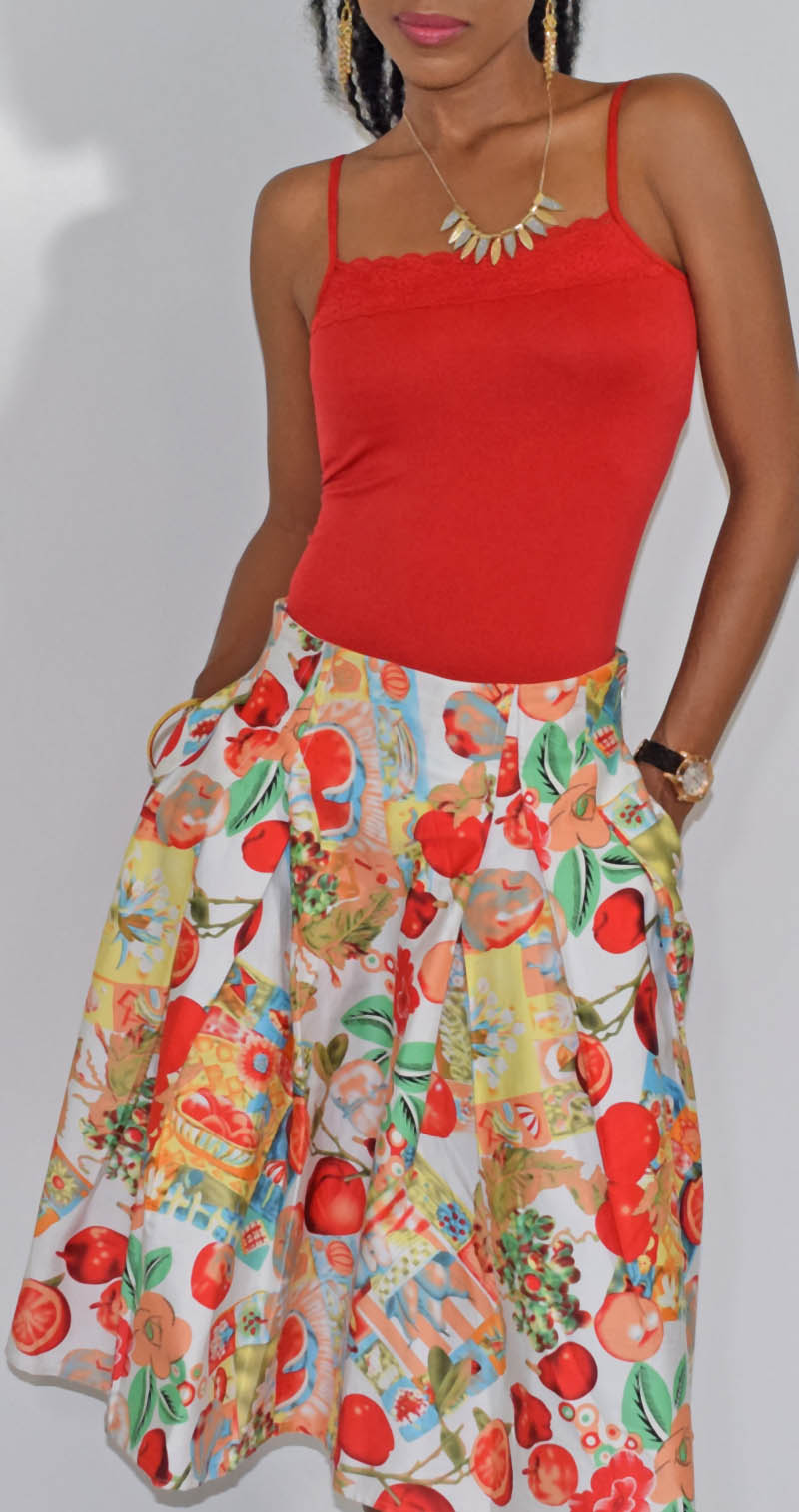 Grace Karin apples pomegranates fruits and flowers print skater skirt red lace detail tank top 2