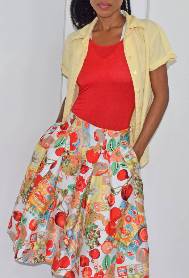 Grace Karin apples pomegranates fruits and flowers print skater skirt yellow shirt over red tank top
