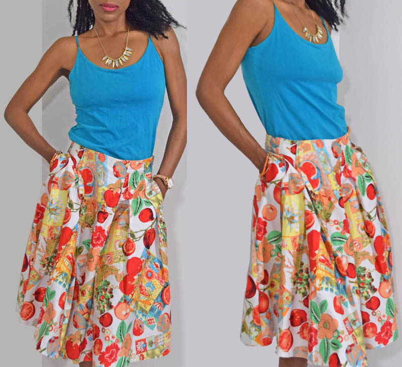 Grace Karin fruits and flowers flared print skirt turquoise tank top