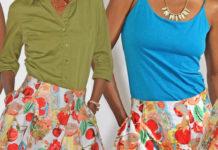Grace Karin fruits flowers print skater skirt outfits