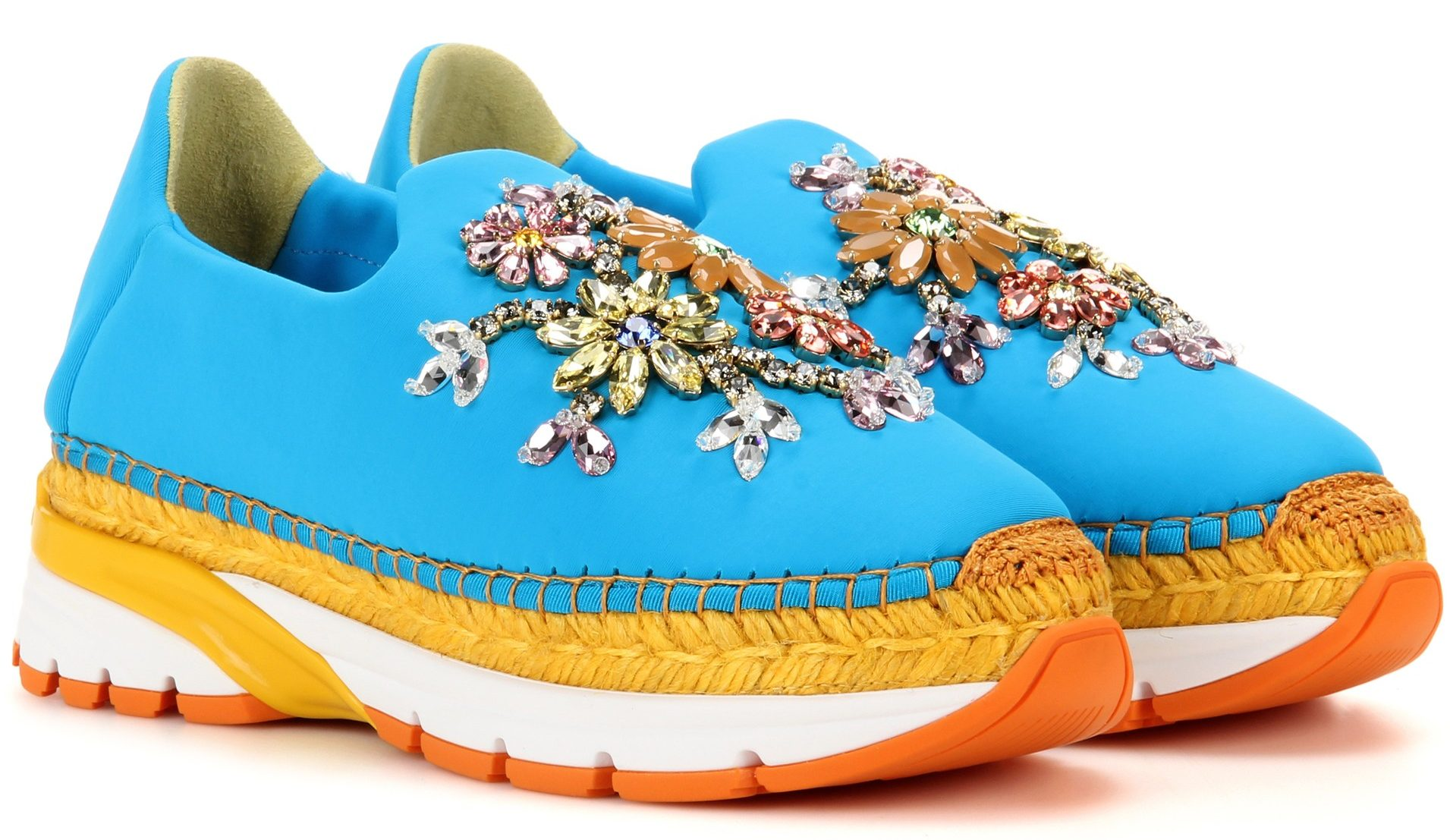 Dolce Gabbana Embellished espadrille sneakers turquoise blue yellow