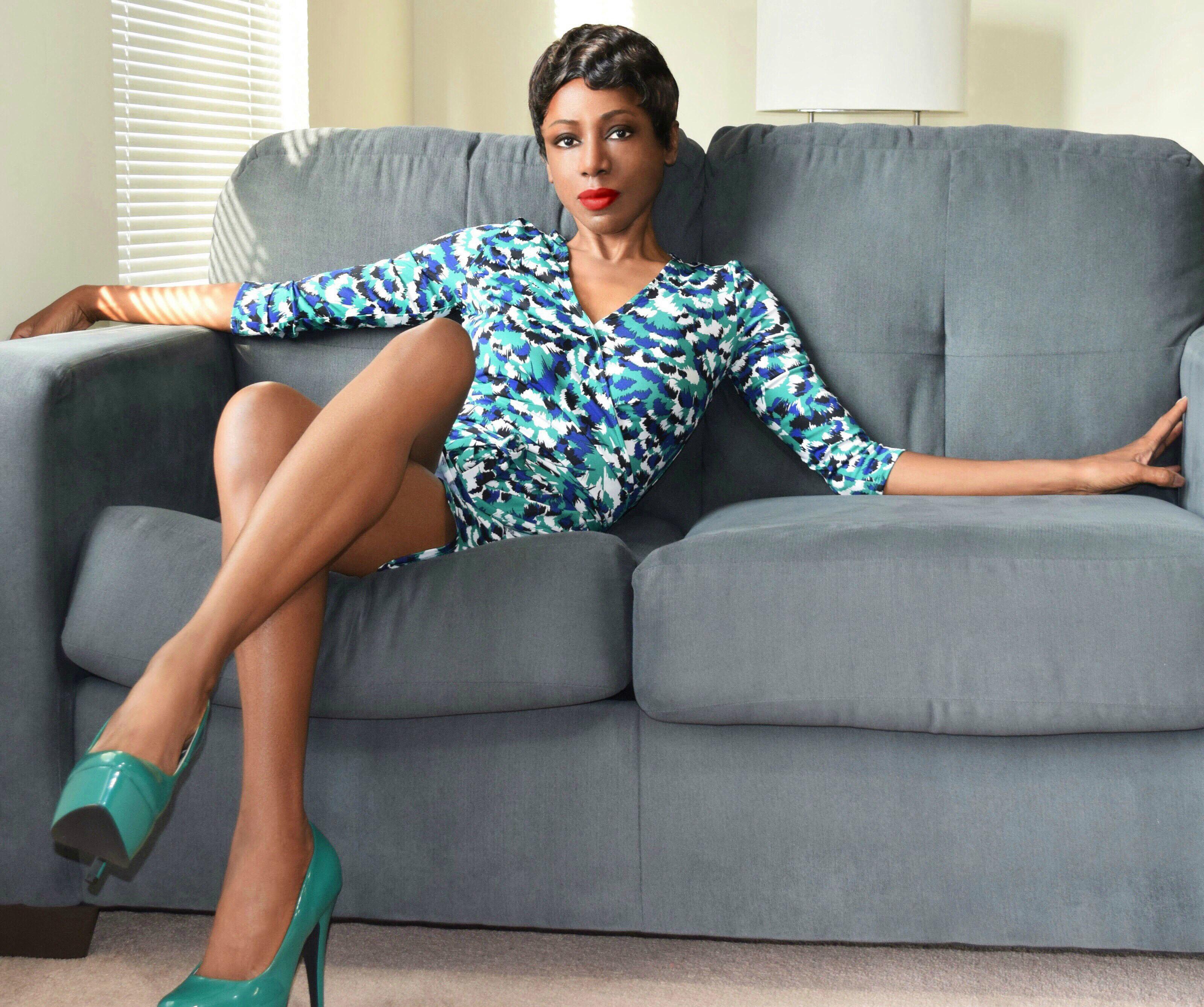 JustFab green blue white print dress 1-M