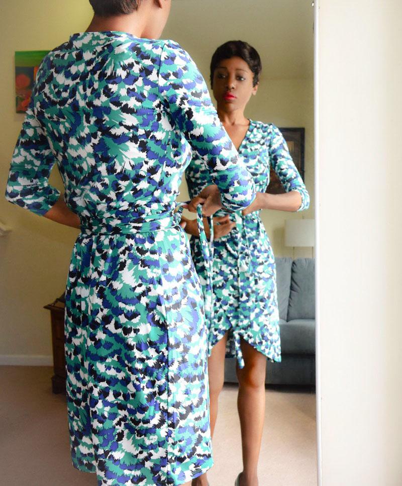 justfab green blue white print wrap dress
