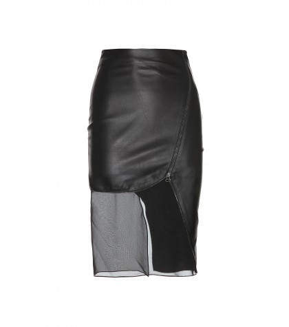 Altuzarra Jodie Leather Skirt With Sheer Insert