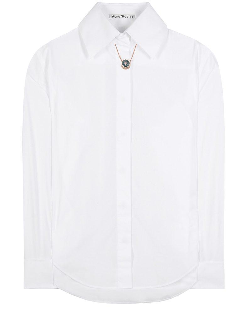 white acne studio Slade Pop cotton shirt with monica vinader rose gold vermeil evil eye necklace