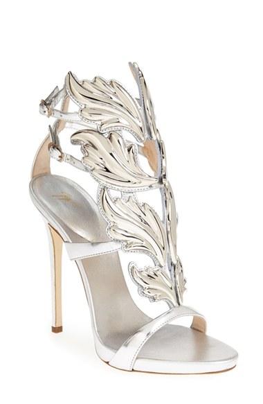 Giuseppe Zanotti 'Coline' Winged Sandal (Women) Silver 9.5 M