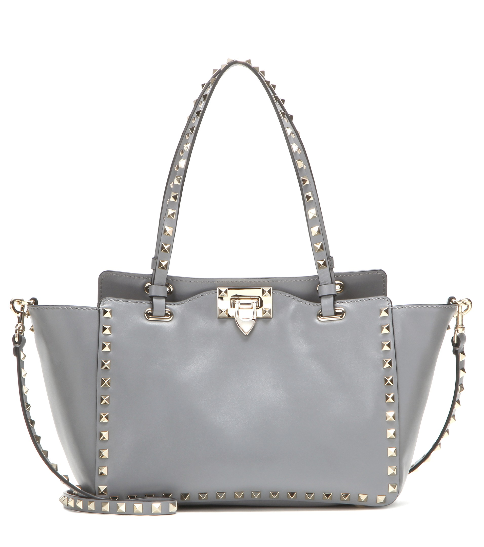 Valentino Garavani Rockstud Small leather tote bag in color gray