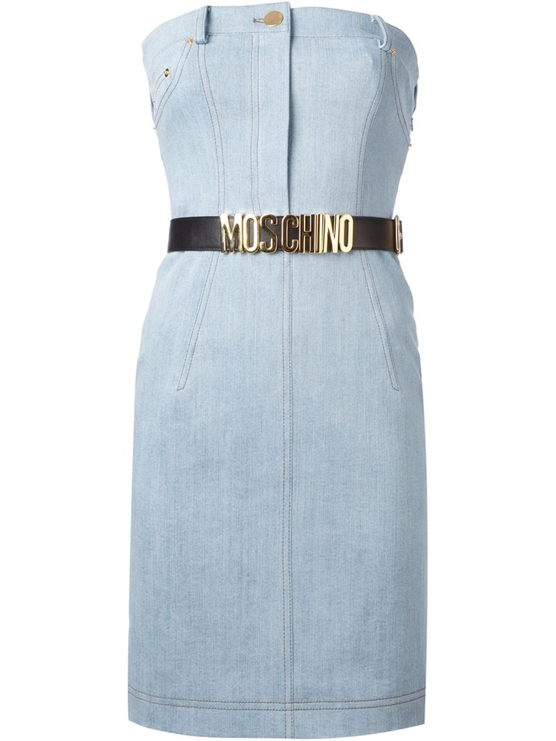 MOSCHINO strapless belted dress