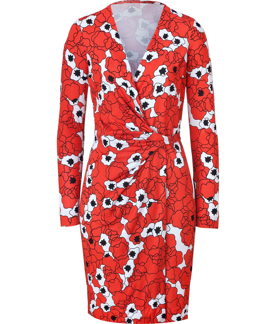 Diane von http://myfashionwants.com/?p=57581&preview=trueFurstenberg Starred Clouds Coral Silk Valencia Dress