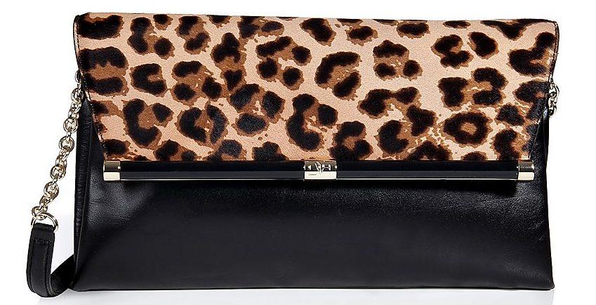 Diane von Furstenberg Haircalf/Leather Envelope Clutch