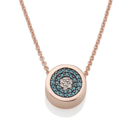 Monica Vinader Rose Gold Vermeil Evil Eye Necklace - Diamond