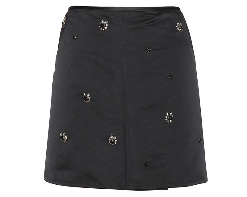 Marni black Embellished satin skirt