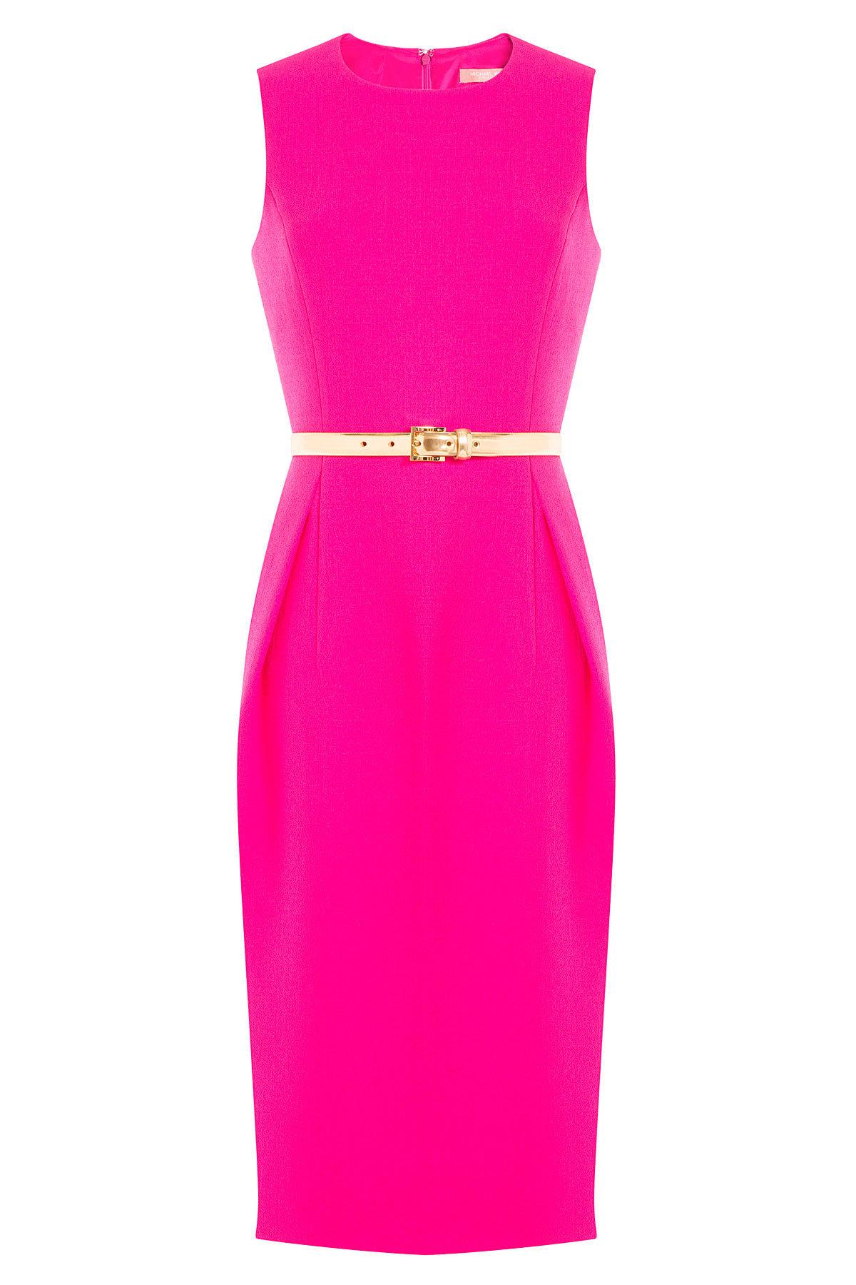 Michael Kors magenta Virgin Wool Dress with gold Belt