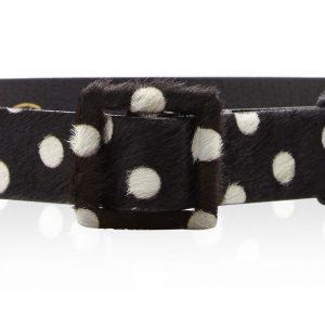 Oscar de la Renta black pony hair self covered square buckle waist belt - polka dot belt