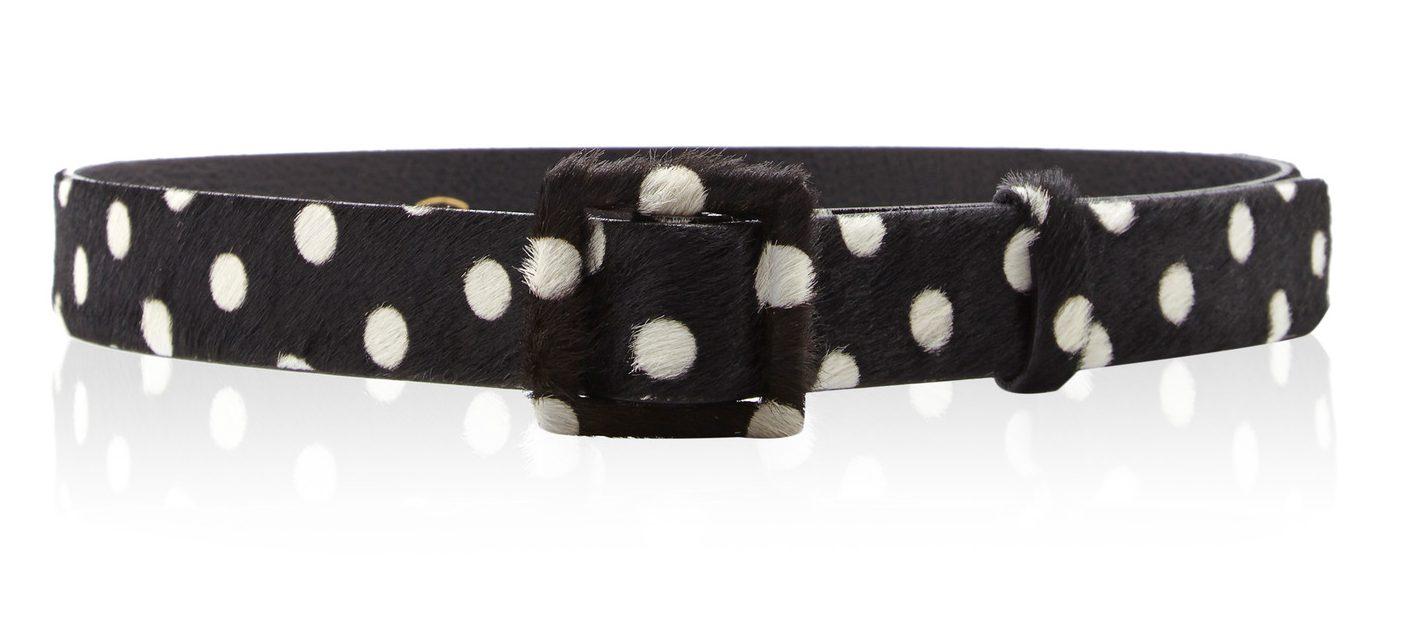 Oscar de la Renta black pony hair self covered square buckle waist belt - black and white polka dot belt