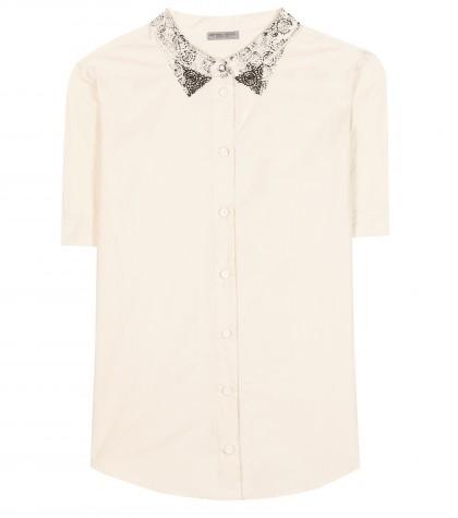 Bottega Veneta Short-sleeved Cotton Shirt With Printed Collar
