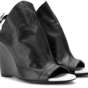 Balenciaga Glove Leather Wedges - black shoes
