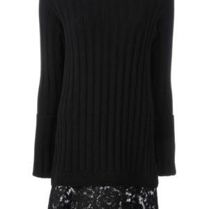 Valentino lace skirt knit dress