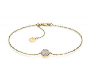 Monica Vinader Gold Vermeil Ava Button Bracelet - Diamond