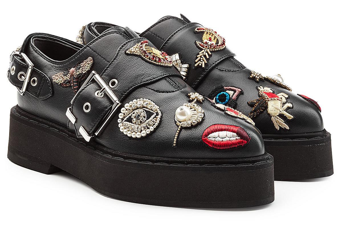 Aleander McQueen embellished black leather monk shoes