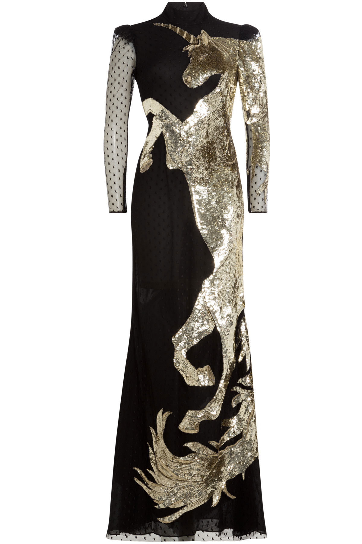 Alexander McQueen Embellished Floor Length Gown black gold sequin