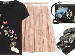 Alexander McQueen Printed Cotton T-Shirt Lace Skirt with Silk Lining Embellished Leather Monk Shoes