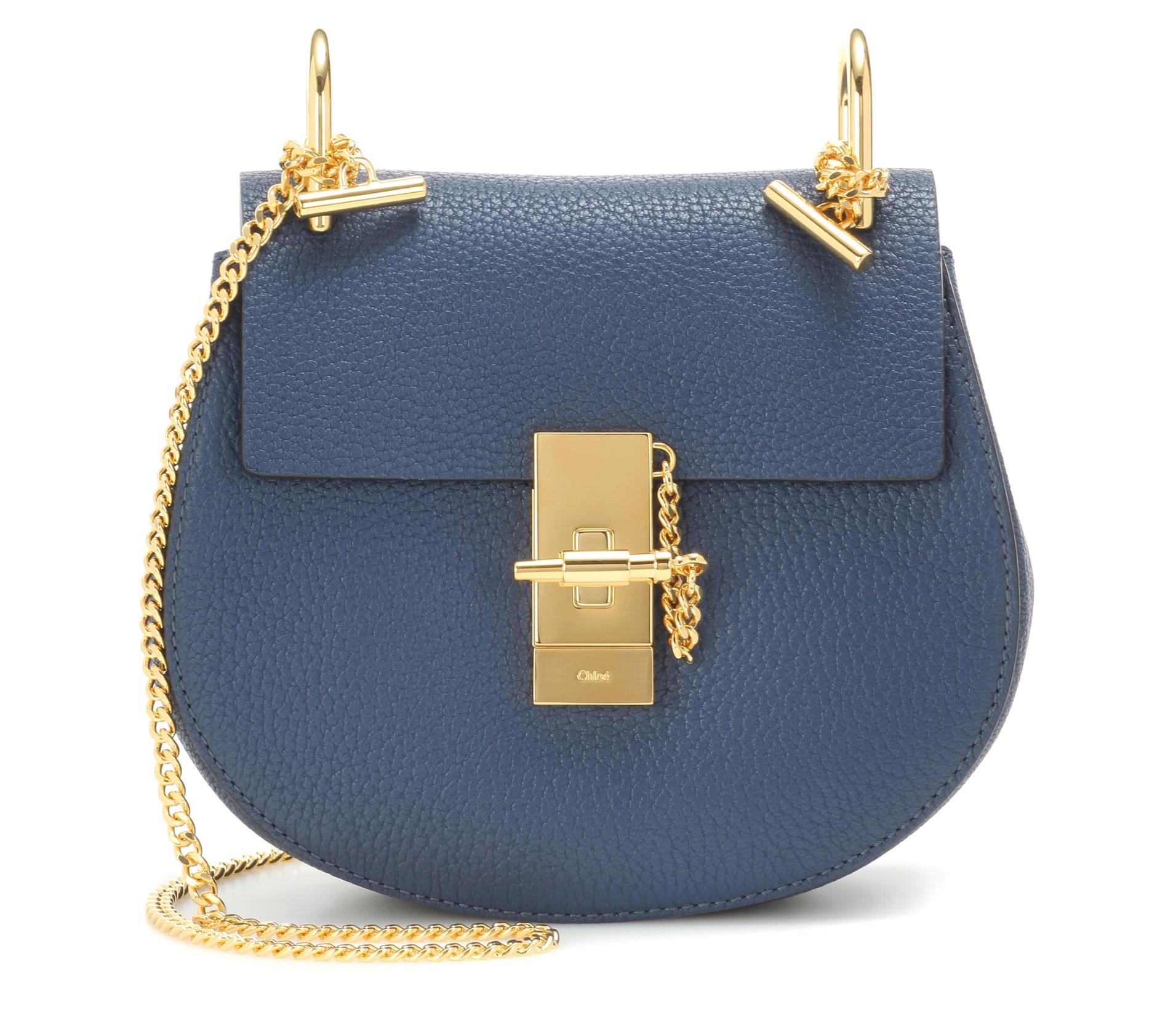 Denim blue Chloe Drew Mini leather shoulder bag