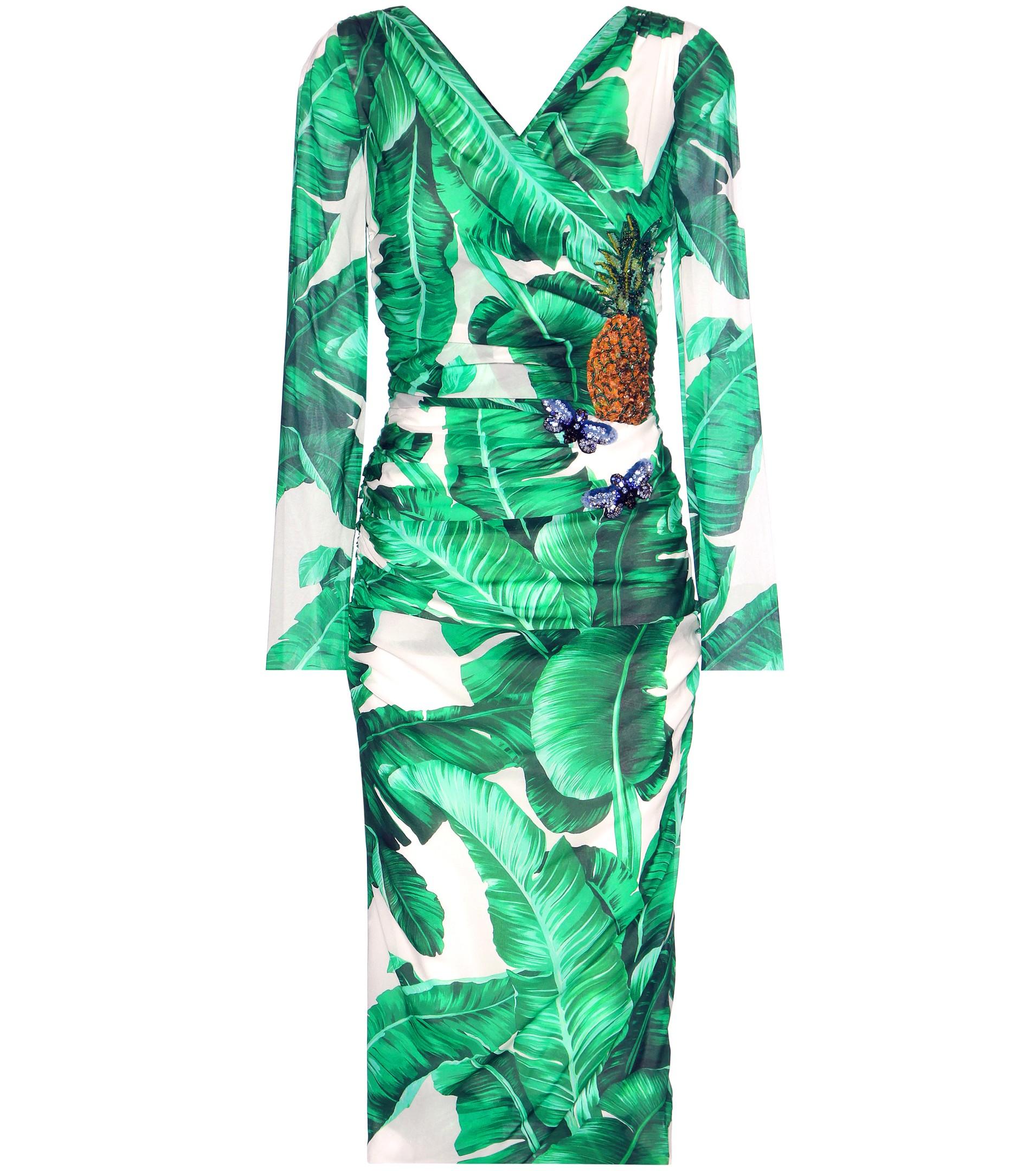 Dolce Gabbana Printed embellished silk-blend wrap dress