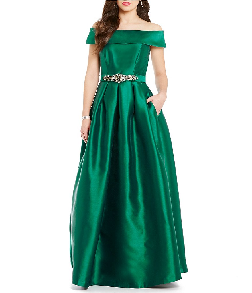 Eliza J Off-the-Shoulder Short Sleeve Taffeta Ball Gown