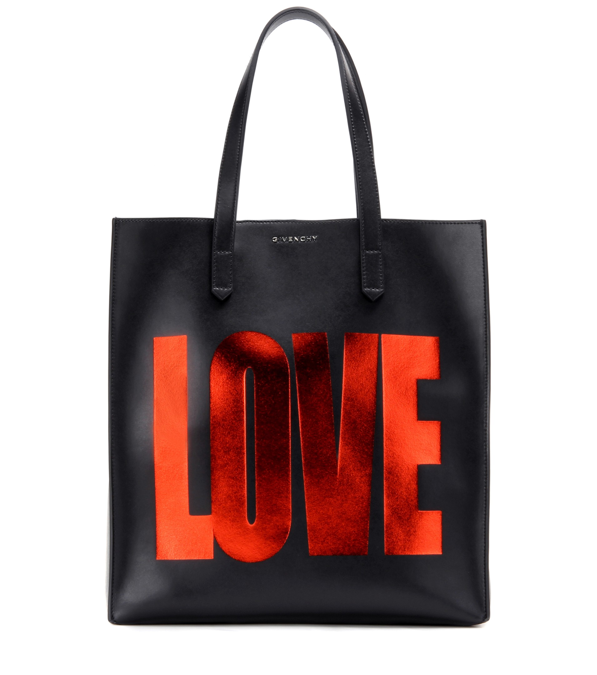 Givenchy Basic love printed black leather tote - designer tote bags