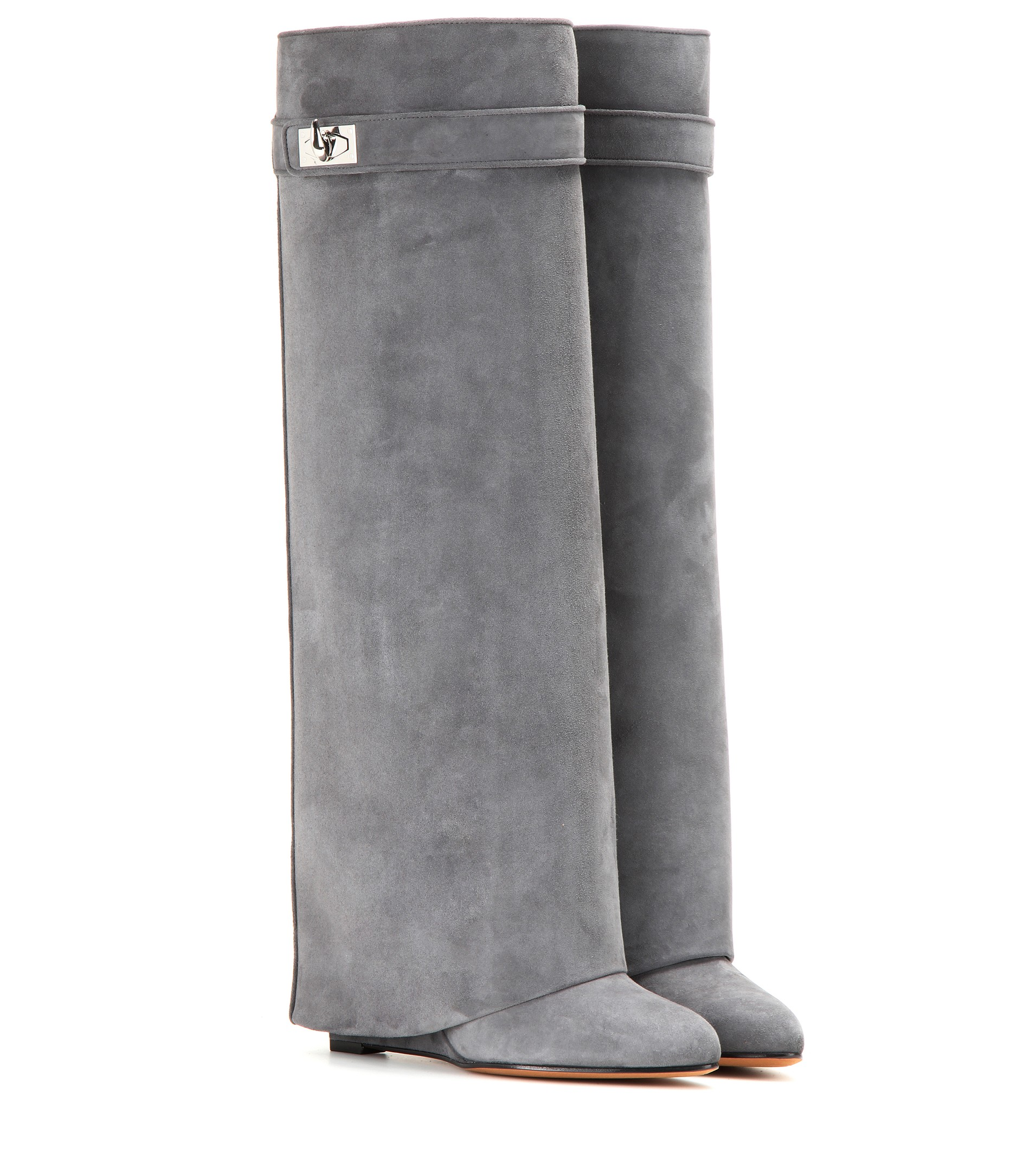 Givenchy grey Pant Shark Lock suede wedge boots