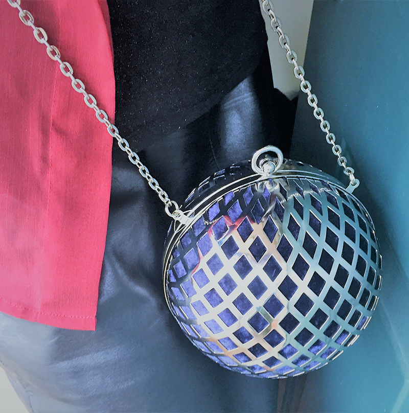 HM Spherical Shoulder Bag velvet-covered material metal clasp metal chain shoulder strap