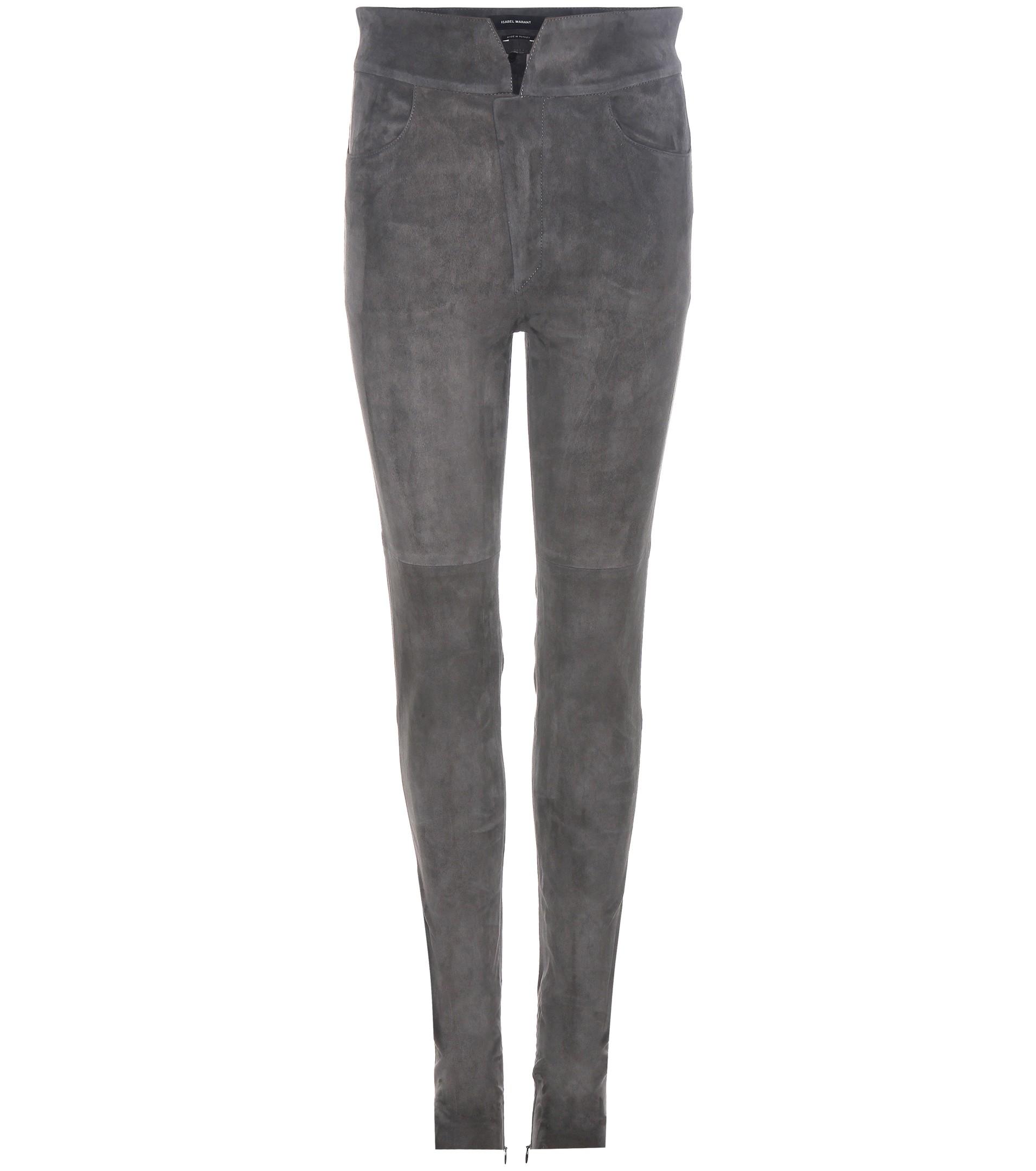 Isabel Marant dark gray Eydie suede trousers